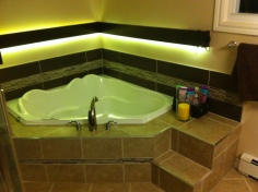 Custom tile surround with light bar